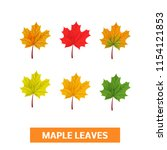 set of vector autumn maple... | Shutterstock .eps vector #1154121853