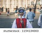 girl in the latvian folk dress... | Shutterstock . vector #1154134003