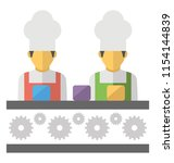 two human avatars in chef caps ... | Shutterstock .eps vector #1154144839