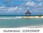 gazebo on the beach in tropical ... | Shutterstock . vector #1154150659