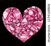 pop pink heart with smooth... | Shutterstock .eps vector #1154168806
