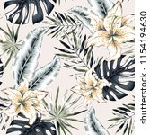 tropical lily flowers and gray... | Shutterstock .eps vector #1154194630