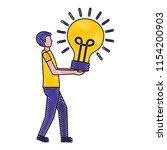 man holds light bulb idea...   Shutterstock .eps vector #1154200903