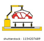 body of car on the assembly... | Shutterstock .eps vector #1154207689