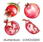 watercolor pomegranates set | Shutterstock . vector #1154210203