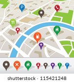 city map with navigation icons | Shutterstock .eps vector #115421248