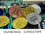 bitcoin on the board | Shutterstock . vector #1154227399