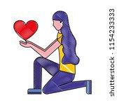 knee woman holding heart love | Shutterstock .eps vector #1154233333