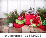 christmas presents and... | Shutterstock . vector #115424278
