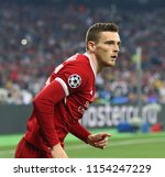 Small photo of KYIV, UKRAINE - MAY 26, 2018: Andy Robertson of Liverpool controls a ball during the UEFA Champions League Final 2018 game against Real Madrid in Kyiv