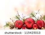 Closeup Of Red Christmas Balls...