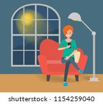 scenes of woman using a mobile... | Shutterstock .eps vector #1154259040
