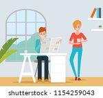 scenes of people talking in the ... | Shutterstock .eps vector #1154259043