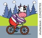 vector cartoon animal of a cow... | Shutterstock .eps vector #1154259703