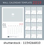 wall calendar for 2019 year.... | Shutterstock .eps vector #1154266810