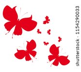 beautiful red butterflies ... | Shutterstock . vector #1154290033