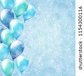 blue balloons. sparkle... | Shutterstock . vector #1154300116