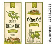 set of label for olive. bottle... | Shutterstock .eps vector #1154313136