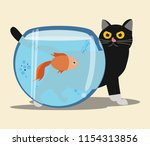 cat and goldfish vector... | Shutterstock .eps vector #1154313856