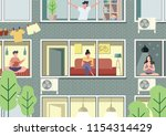 open windows with people... | Shutterstock .eps vector #1154314429