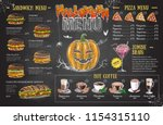 vintage chalk drawing halloween ... | Shutterstock .eps vector #1154315110