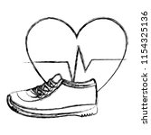 heart cardio with tennis shoes | Shutterstock .eps vector #1154325136