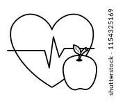 heart cardio with apple | Shutterstock .eps vector #1154325169