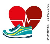 heart cardio with tennis shoes | Shutterstock .eps vector #1154328733