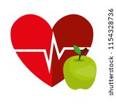 heart cardio with apple | Shutterstock .eps vector #1154328736