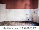 empty kitchen room in old... | Shutterstock . vector #1154333149