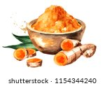 turmeric root and powder in the ... | Shutterstock . vector #1154344240