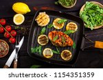 grilled chicken fillet with...   Shutterstock . vector #1154351359