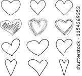 hand drawn set of hearts | Shutterstock .eps vector #1154369353