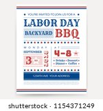 labor day bbq invitation... | Shutterstock .eps vector #1154371249