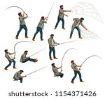 fisherman set | Shutterstock .eps vector #1154371426