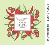 background with chilli pepper ... | Shutterstock .eps vector #1154371576