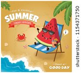 vintage summer poster with... | Shutterstock .eps vector #1154371750