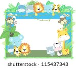 Stock vector cute jungle baby animals jungle plants and bamboo frame vector format very easy to edit 115437343
