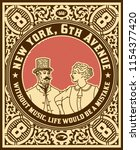vintage label with lady and... | Shutterstock .eps vector #1154377420