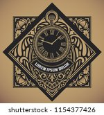 retro label with hand watch... | Shutterstock .eps vector #1154377426