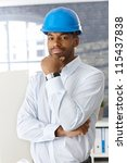 architect in hardhat standing... | Shutterstock . vector #115437838