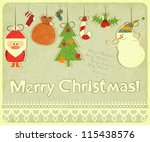 old christmas postcard with...   Shutterstock .eps vector #115438576