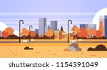 autumn urban yellow park... | Shutterstock .eps vector #1154391049