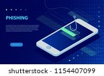 login into account and fishing... | Shutterstock .eps vector #1154407099