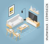 vector isometric living room in ... | Shutterstock .eps vector #1154416126