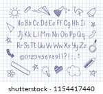 alphabet in sketchy style with... | Shutterstock .eps vector #1154417440