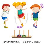 children playing ring toss... | Shutterstock .eps vector #1154424580