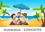 people under an umbrella beach... | Shutterstock .eps vector #1154424793