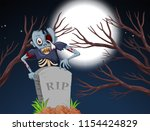 zombie in graveyard at night... | Shutterstock .eps vector #1154424829