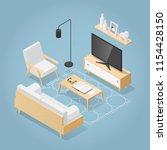 vector isometric living room in ... | Shutterstock .eps vector #1154428150